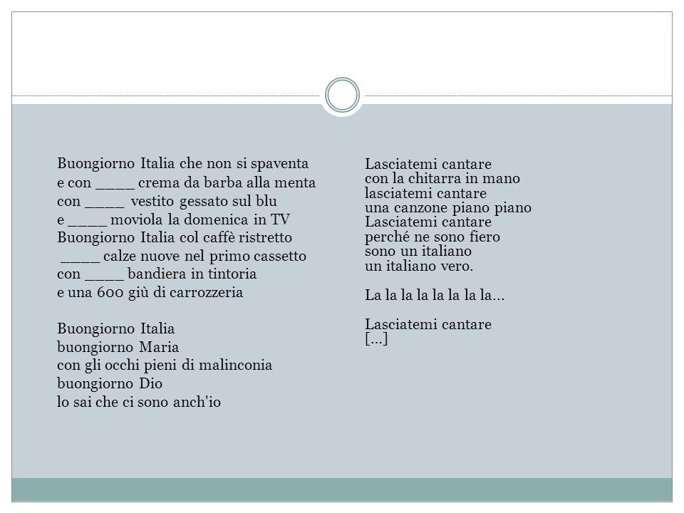 Buongiorno Italia che non si spaventa e con ____ crema da barba alla menta con ____ vestito gessato sul blu e ____ moviola la domenica in TV Buongiorn