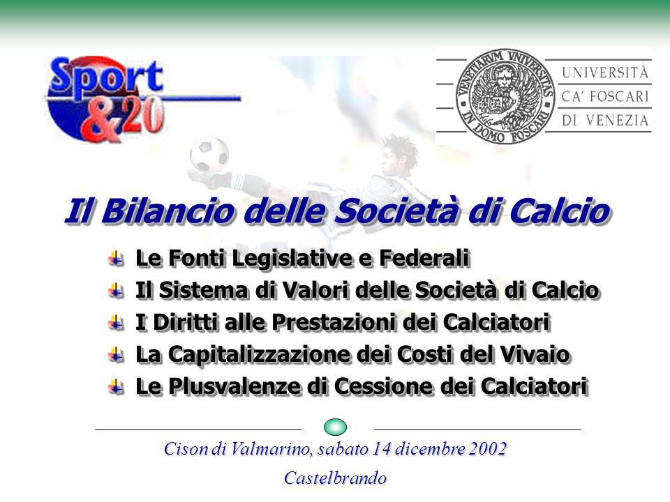 Castelbrando, 14 dicembre 2002Moreno Mancin 2 Le fonti legislative e federali Le norme che disciplinano attualmente la redazione dei bilanci delle Società di Calcio (S.d.C.) provengono da una molteplice serie di fonti: Norme legislative Norme Federali 1) Legge n.