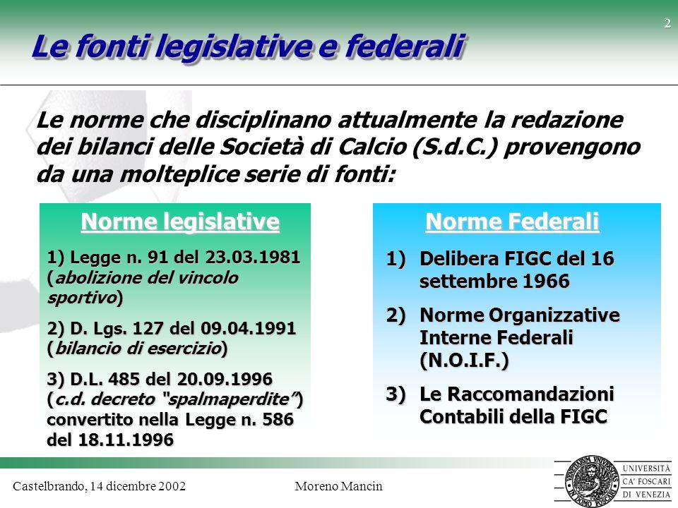 Castelbrando, 14 dicembre 2002Moreno Mancin 2 Le fonti legislative e federali Le norme che disciplinano attualmente la redazione dei bilanci delle Soc