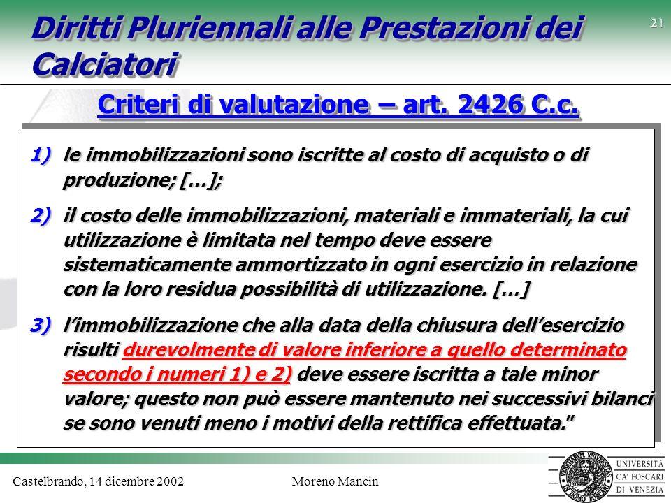 Castelbrando, 14 dicembre 2002Moreno Mancin 21 Diritti Pluriennali alle Prestazioni dei Calciatori Criteri di valutazione – art. 2426 C.c. 1)le immobi