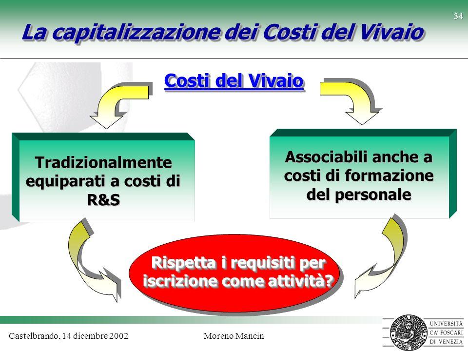 Castelbrando, 14 dicembre 2002Moreno Mancin 34 La capitalizzazione dei Costi del Vivaio Tradizionalmente equiparati a costi di R&S Associabili anche a