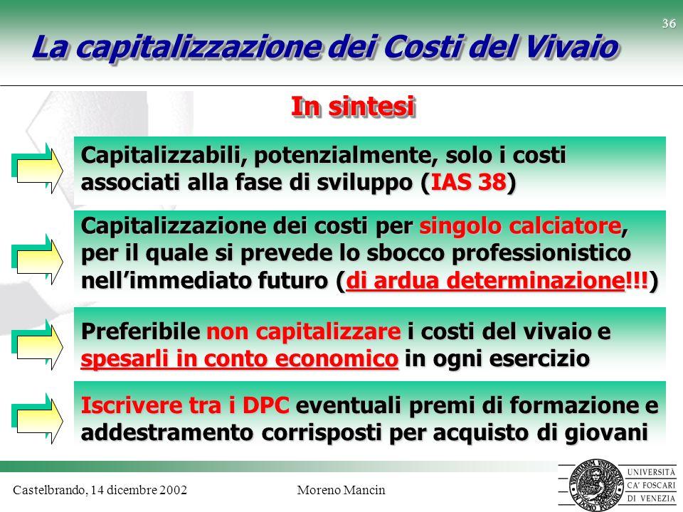 Castelbrando, 14 dicembre 2002Moreno Mancin 36 La capitalizzazione dei Costi del Vivaio Capitalizzabili, potenzialmente, solo i costi associati alla f