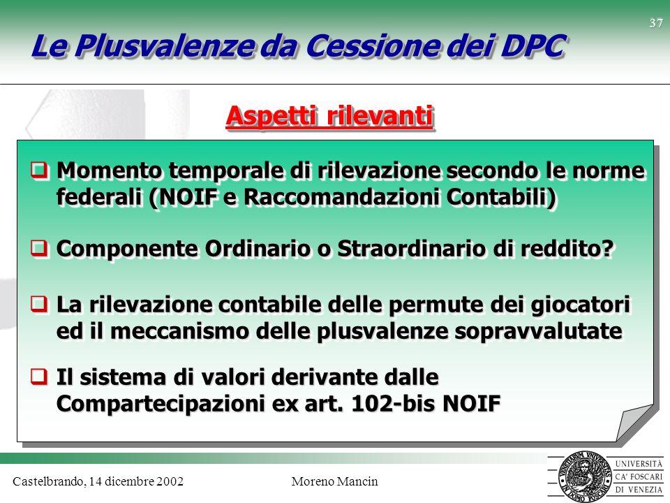 Castelbrando, 14 dicembre 2002Moreno Mancin 37 Le Plusvalenze da Cessione dei DPC Aspetti rilevanti Momento temporale di rilevazione secondo le norme