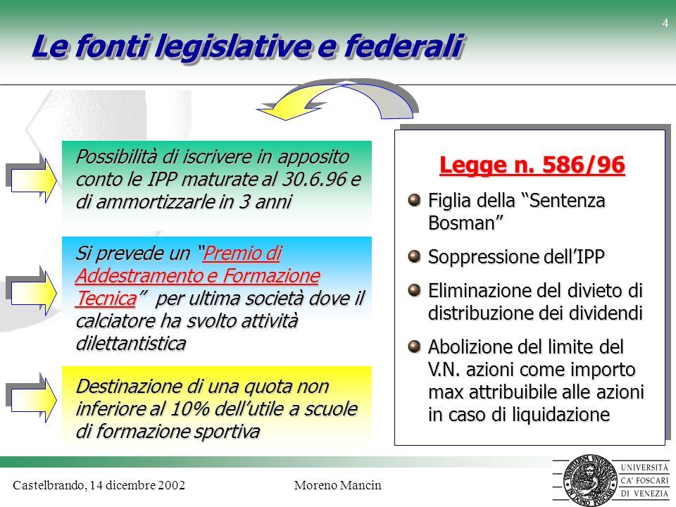 Castelbrando, 14 dicembre 2002Moreno Mancin 4 Le fonti legislative e federali Possibilità di iscrivere in apposito conto le IPP maturate al 30.6.96 e