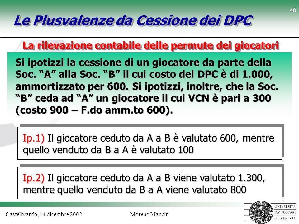Castelbrando, 14 dicembre 2002Moreno Mancin 40 Le Plusvalenze da Cessione dei DPC Si ipotizzi la cessione di un giocatore da parte della Soc. A alla S
