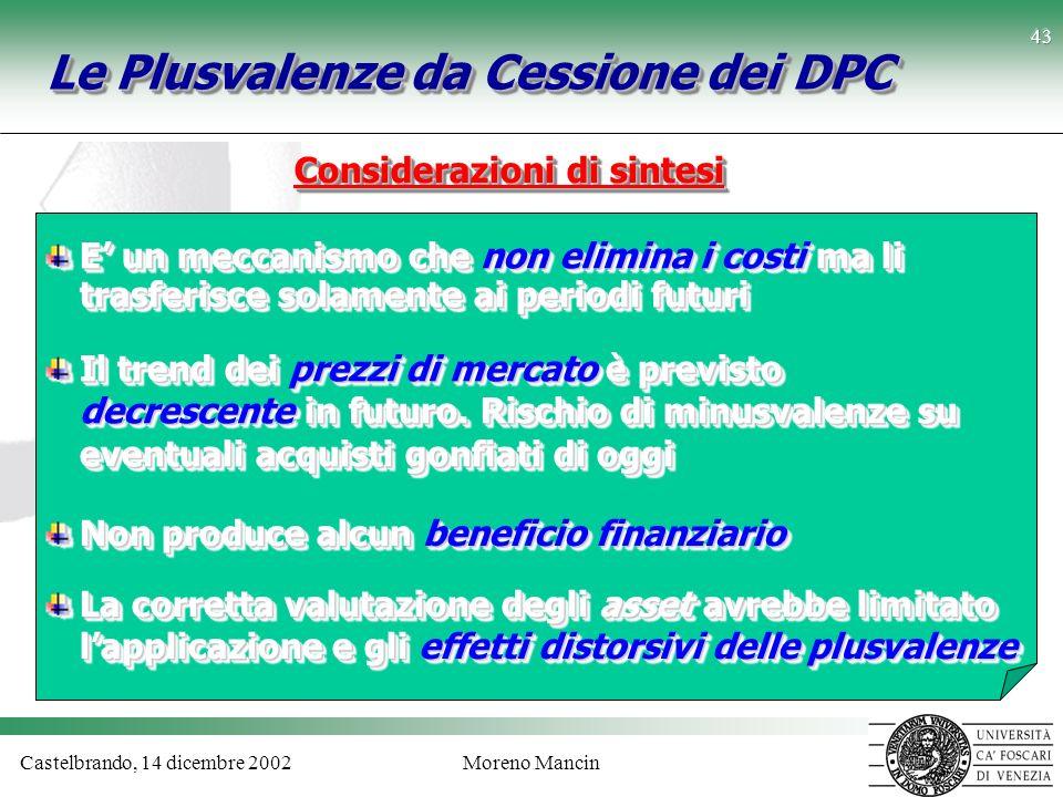 Castelbrando, 14 dicembre 2002Moreno Mancin 43 Le Plusvalenze da Cessione dei DPC Considerazioni di sintesi E un meccanismo che non elimina i costi ma