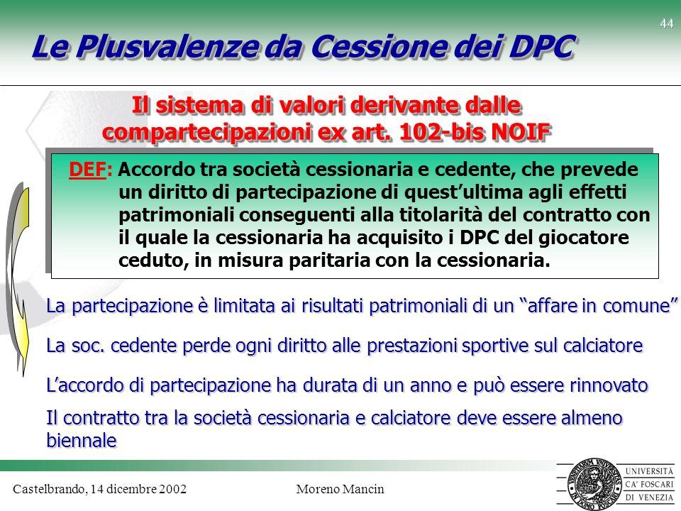 Castelbrando, 14 dicembre 2002Moreno Mancin 44 Le Plusvalenze da Cessione dei DPC DEF: Accordo tra società cessionaria e cedente, che prevede un dirit