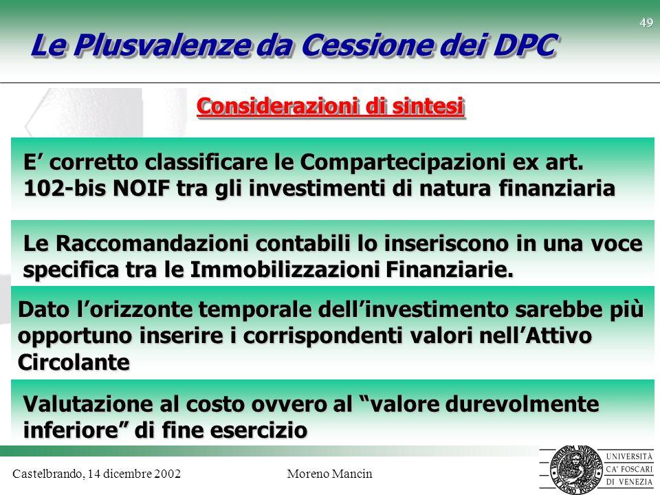 Castelbrando, 14 dicembre 2002Moreno Mancin 49 Dato lorizzonte temporale dellinvestimento sarebbe più opportuno inserire i corrispondenti valori nellA