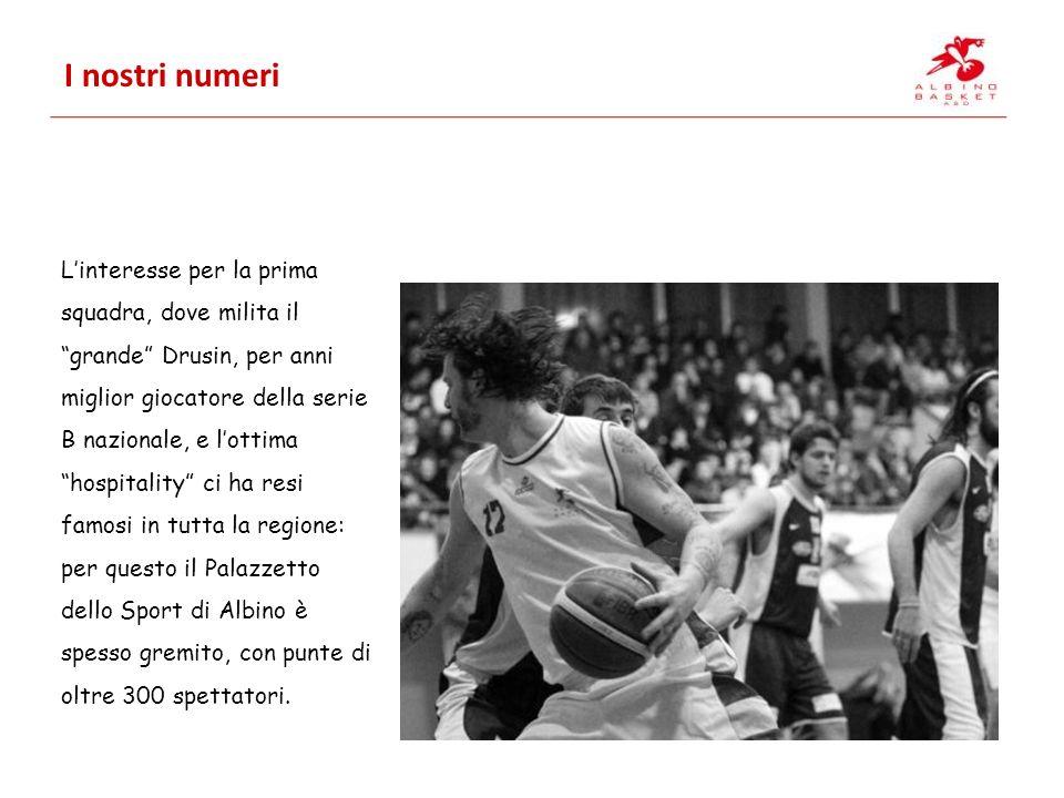 I nostri numeri Linteresse per la prima squadra, dove milita il grande Drusin, per anni miglior giocatore della serie B nazionale, e lottima hospitality ci ha resi famosi in tutta la regione: per questo il Palazzetto dello Sport di Albino è spesso gremito, con punte di oltre 300 spettatori.