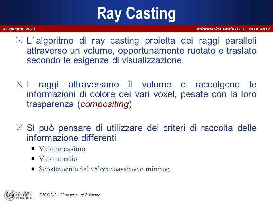Informatica Grafica a.a. 2010-2011 DICGIM – University of Palermo Ray Casting Lalgoritmo di ray casting proietta dei raggi paralleli attraverso un vol