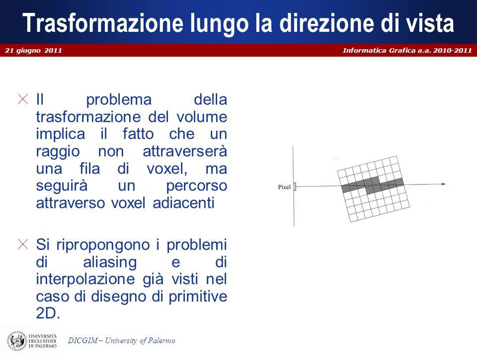 Informatica Grafica a.a. 2010-2011 DICGIM – University of Palermo Trasformazione lungo la direzione di vista Il problema della trasformazione del volu