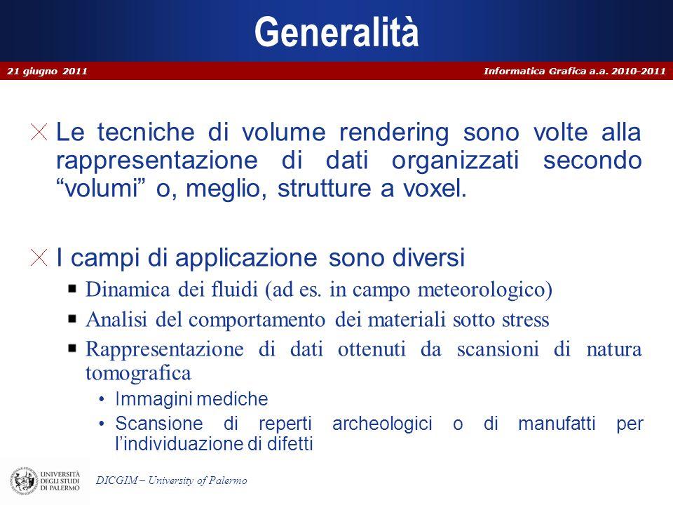 Informatica Grafica a.a. 2010-2011 DICGIM – University of Palermo Generalità Le tecniche di volume rendering sono volte alla rappresentazione di dati