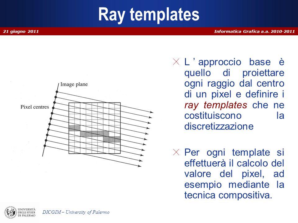Informatica Grafica a.a. 2010-2011 DICGIM – University of Palermo Ray templates Lapproccio base è quello di proiettare ogni raggio dal centro di un pi