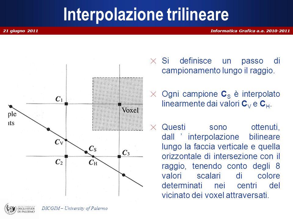Informatica Grafica a.a. 2010-2011 DICGIM – University of Palermo Interpolazione trilineare Si definisce un passo di campionamento lungo il raggio. Og