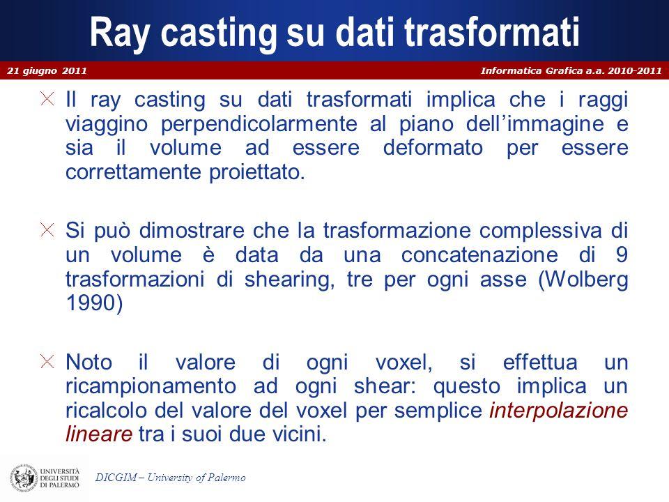 Informatica Grafica a.a. 2010-2011 DICGIM – University of Palermo Ray casting su dati trasformati Il ray casting su dati trasformati implica che i rag