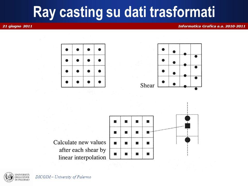 Informatica Grafica a.a. 2010-2011 DICGIM – University of Palermo Ray casting su dati trasformati 21 giugno 2011