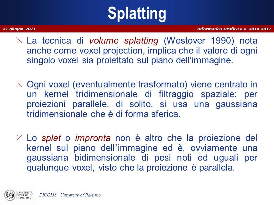 Informatica Grafica a.a. 2010-2011 DICGIM – University of Palermo Splatting La tecnica di volume splatting (Westover 1990) nota anche come voxel proje