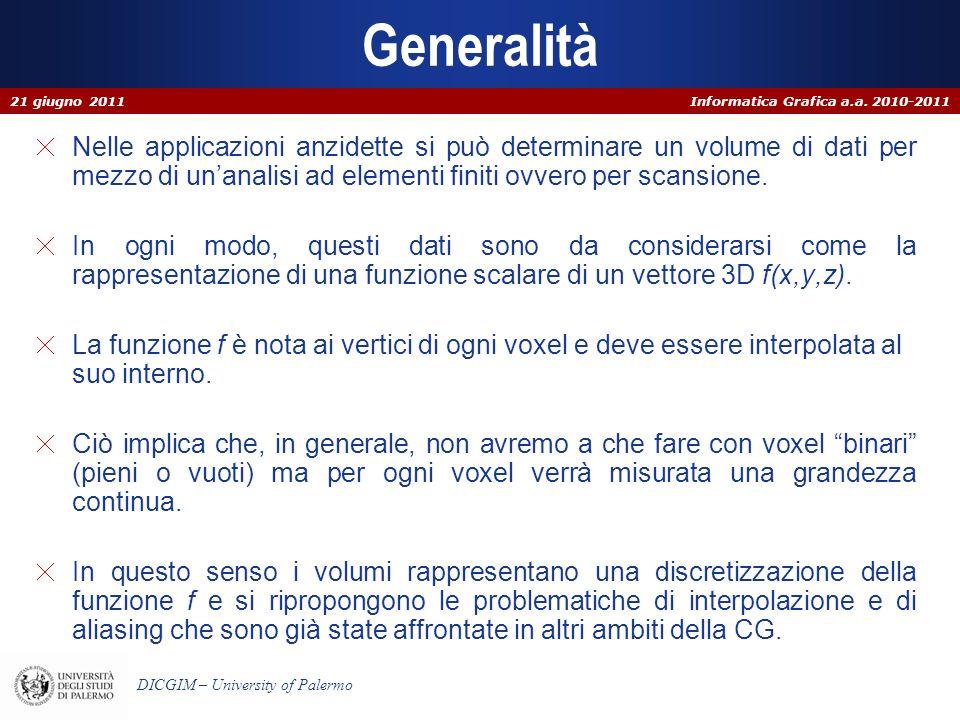 Informatica Grafica a.a. 2010-2011 DICGIM – University of Palermo Generalità Nelle applicazioni anzidette si può determinare un volume di dati per mez