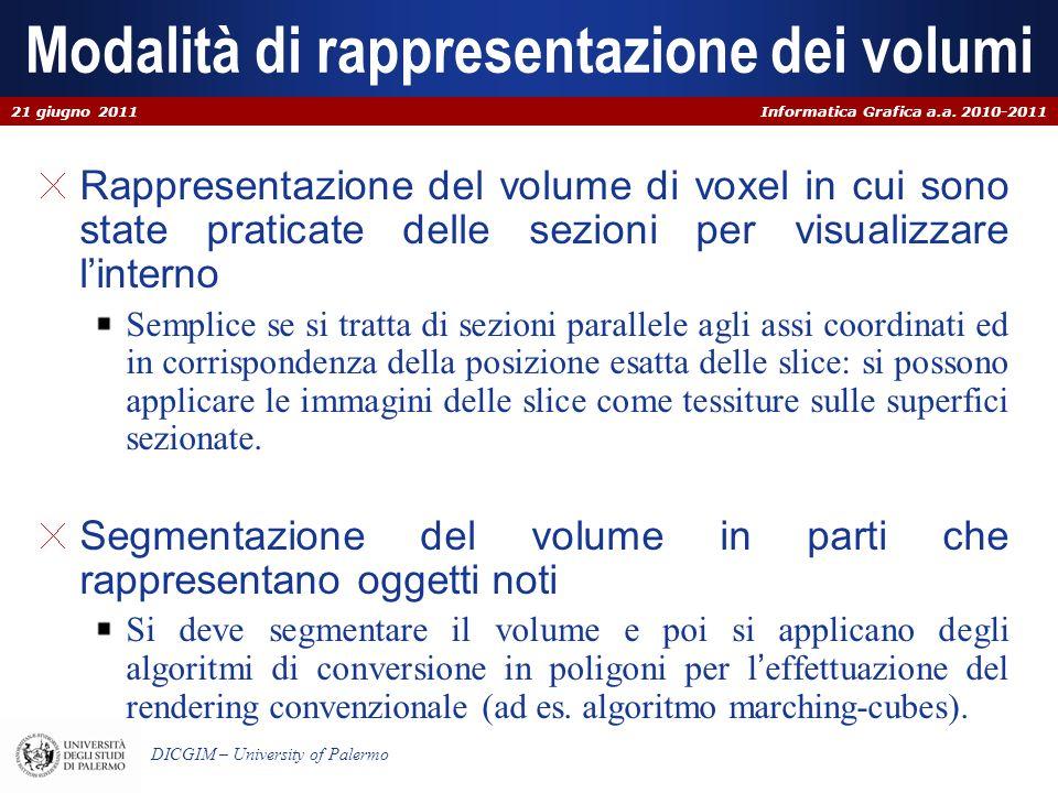 Informatica Grafica a.a. 2010-2011 DICGIM – University of Palermo Modalità di rappresentazione dei volumi Rappresentazione del volume di voxel in cui