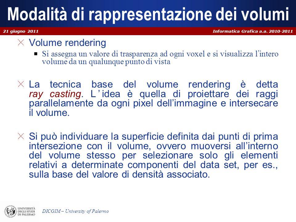 Informatica Grafica a.a. 2010-2011 DICGIM – University of Palermo Modalità di rappresentazione dei volumi Volume rendering Si assegna un valore di tra