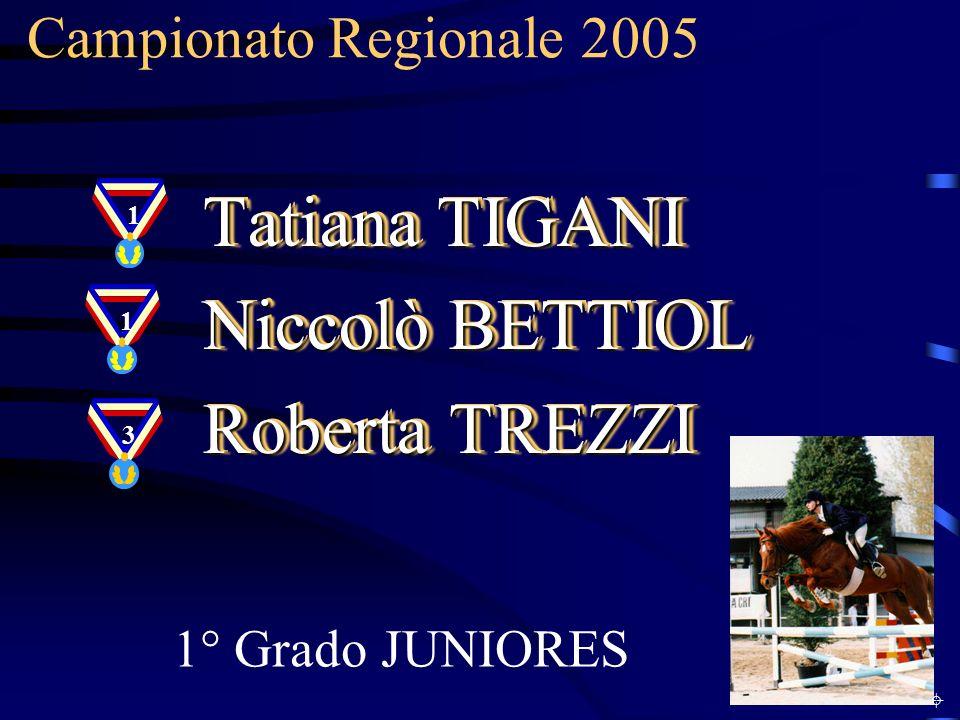 Campionato Regionale 2005 1° Grado JUNIORES Tatiana TIGANI Niccolò BETTIOL Roberta TREZZI Tatiana TIGANI Niccolò BETTIOL Roberta TREZZI 11 3