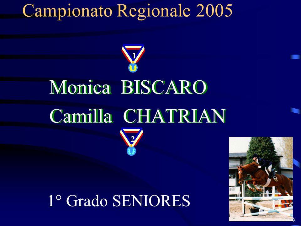Campionato Regionale 2005 1° Grado SENIORES Monica BISCARO Camilla CHATRIAN Monica BISCARO Camilla CHATRIAN 1 2