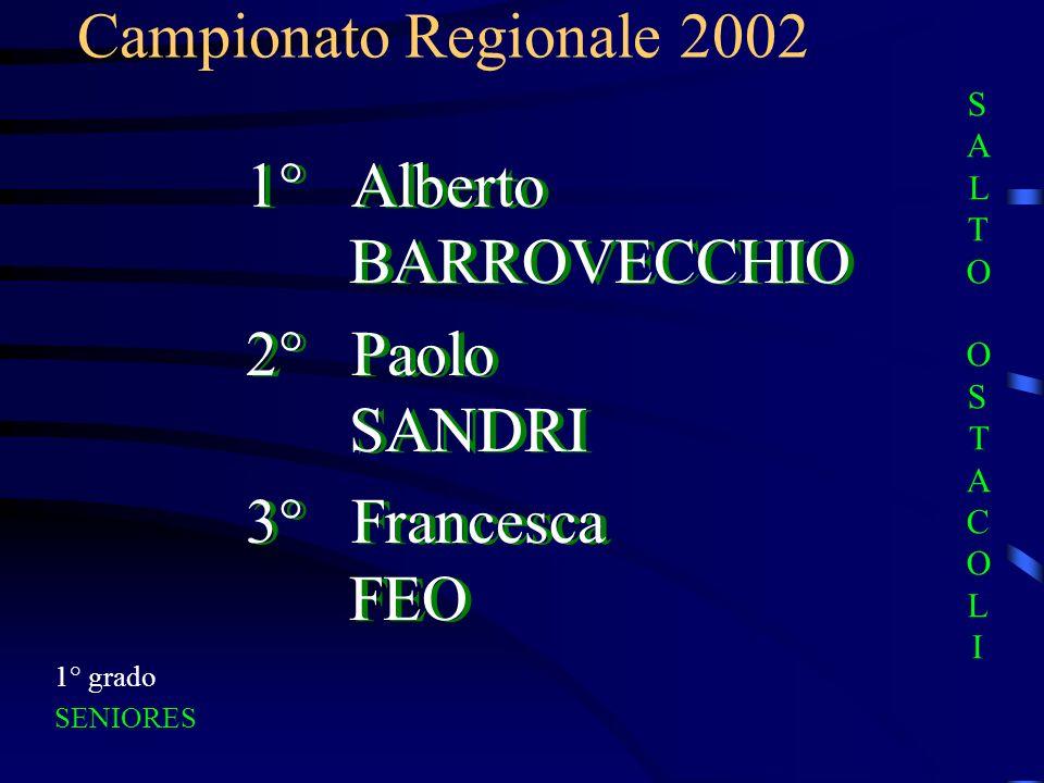 Campionato Regionale 2002 1° grado SENIORES 1° Alberto BARROVECCHIO 2° Paolo SANDRI 3° Francesca FEO 1° Alberto BARROVECCHIO 2° Paolo SANDRI 3° France