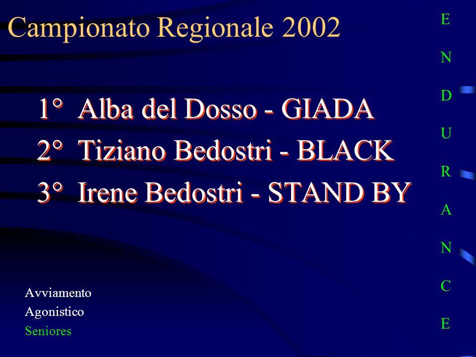 Campionato Regionale 2002 Avviamento Agonistico Seniores 1° Alba del Dosso - GIADA 2° Tiziano Bedostri - BLACK 3° Irene Bedostri - STAND BY 1° Alba de