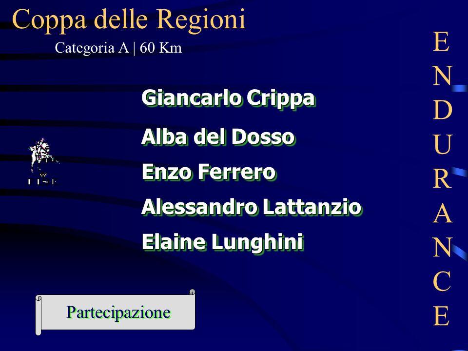 Coppa delle Regioni Elaine Lunghini Enzo Ferrero Giancarlo Crippa Alba del Dosso Alessandro Lattanzio ENDURANCEENDURANCE Categoria A | 60 Km Partecipa