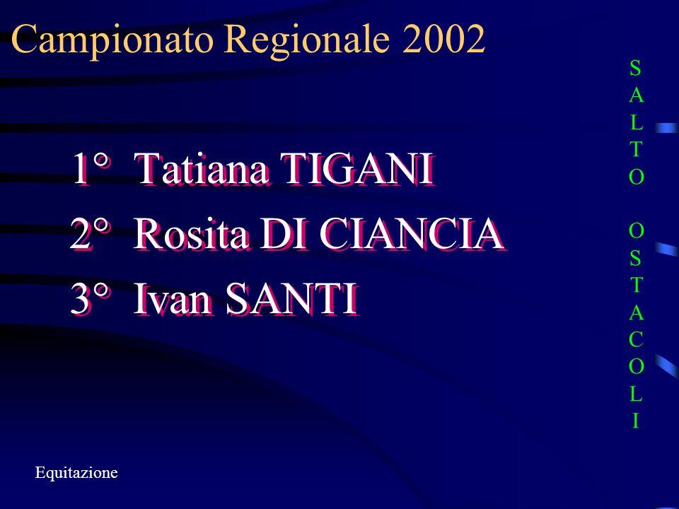 Campionato Regionale 2002 Equitazione 1° Tatiana TIGANI 2° Rosita DI CIANCIA 3° Ivan SANTI 1° Tatiana TIGANI 2° Rosita DI CIANCIA 3° Ivan SANTI SALTO