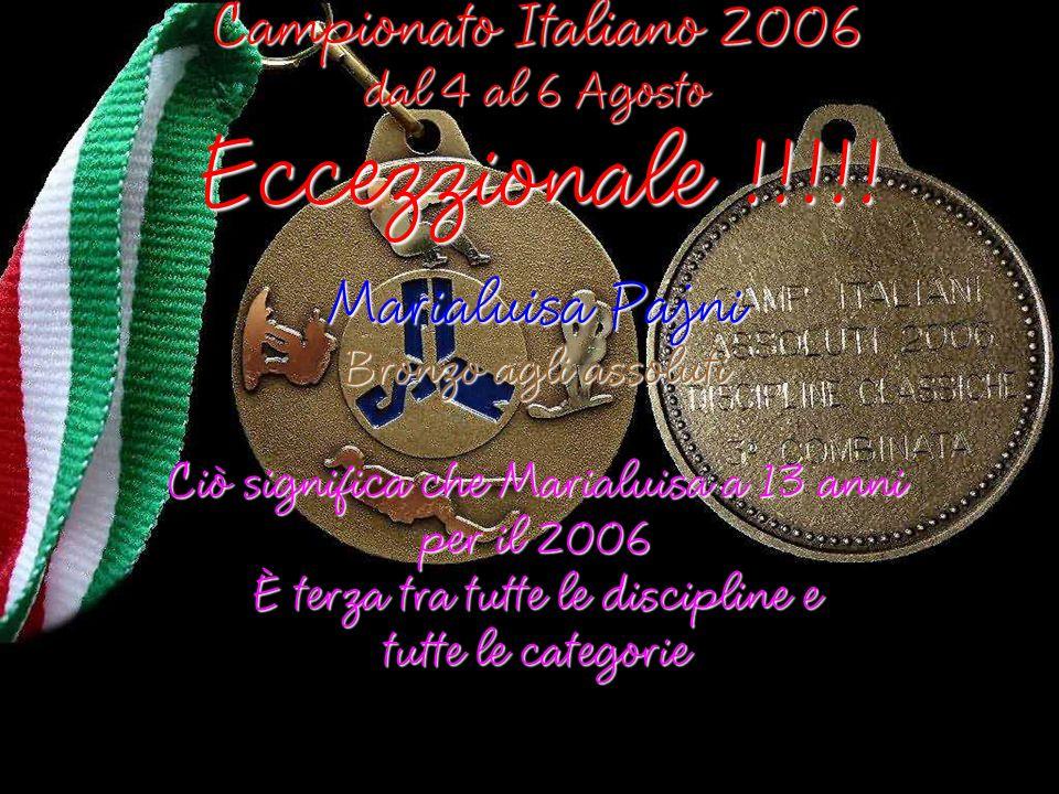 Campionato Italiano 2006 dal 4 al 6 Agosto Medagliere di Marialuisa Pajni Medaglie di categoria In Slalom doro In Figure di bronzo In Salto dargento In Combinata dargento