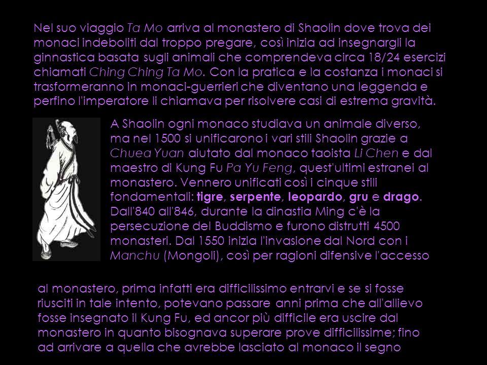 Nel suo viaggio Ta Mo arriva al monastero di Shaolin dove trova dei monaci indeboliti dal troppo pregare, così inizia ad insegnargli la ginnastica bas