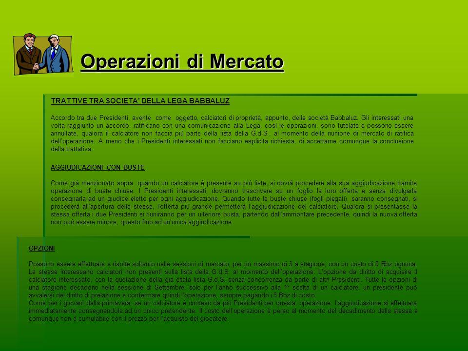 Operazioni di Mercato TRATTIVE TRA SOCIETA DELLA LEGA BABBALUZ Accordo tra due Presidenti, avente come oggetto, calciatori di proprietà, appunto, delle società Babbaluz.