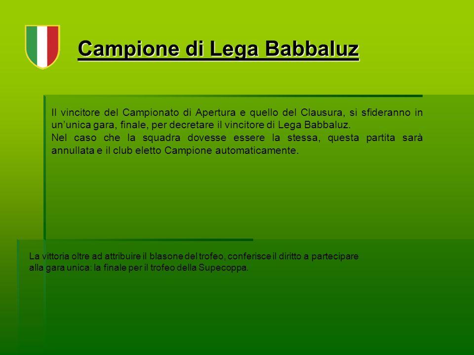 Campione di Lega Babbaluz Il vincitore del Campionato di Apertura e quello del Clausura, si sfideranno in ununica gara, finale, per decretare il vincitore di Lega Babbaluz.
