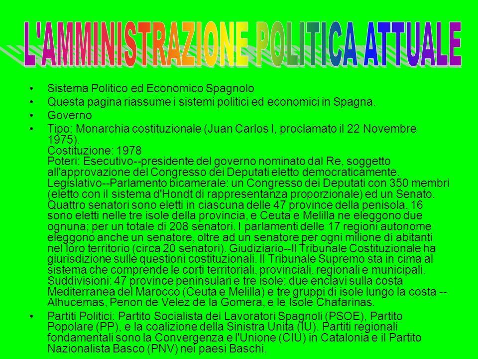Sistema Politico ed Economico Spagnolo Questa pagina riassume i sistemi politici ed economici in Spagna. Governo Tipo: Monarchia costituzionale (Juan