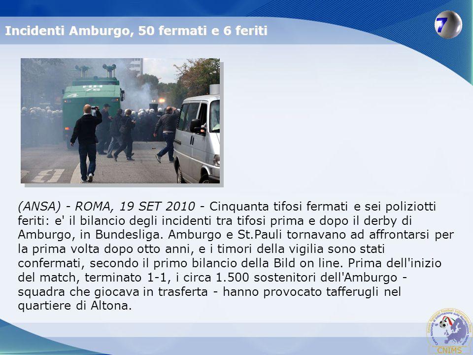 (ANSA) - ROMA, 19 SET 2010 - Cinquanta tifosi fermati e sei poliziotti feriti: e' il bilancio degli incidenti tra tifosi prima e dopo il derby di Ambu