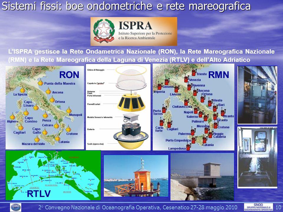 2 o Convegno Nazionale di Oceanografia Operativa, Cesenatico 27-28 maggio 2010 10 Sistemi fissi: boe ondometriche e rete mareografica LISPRA gestisce la Rete Ondametrica Nazionale (RON), la Rete Mareografica Nazionale (RMN) e la Rete Mareografica della Laguna di Venezia (RTLV) e dellAlto Adriatico RMNRON RTLV