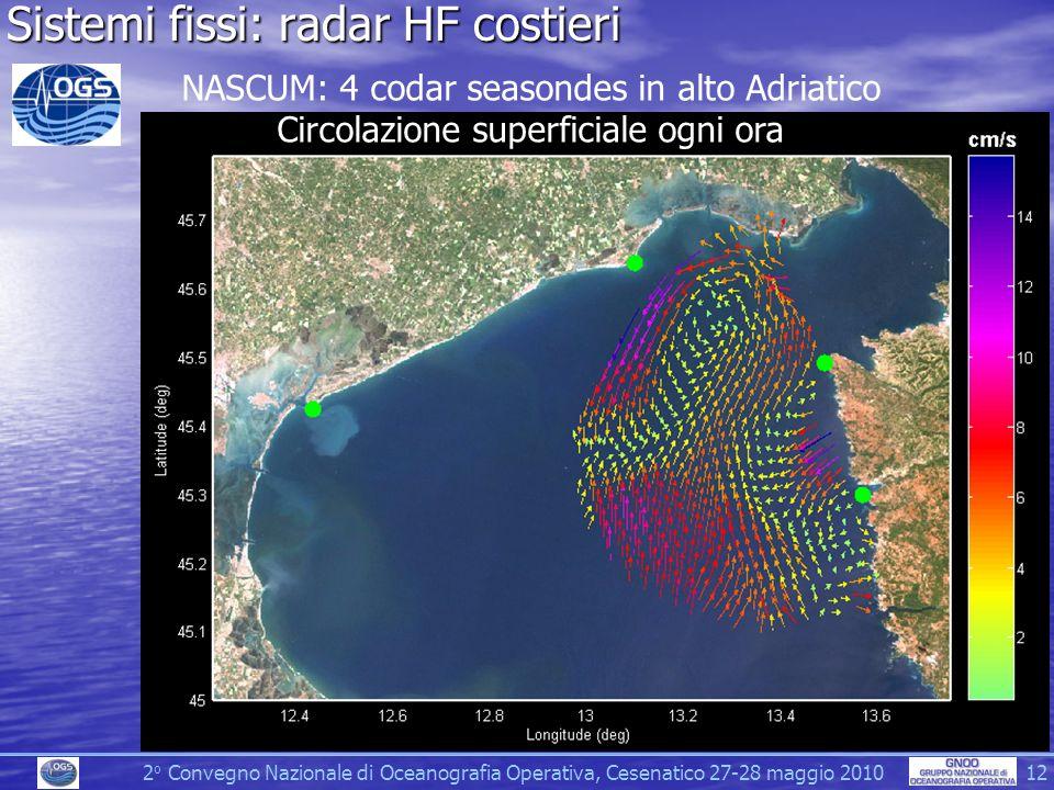 2 o Convegno Nazionale di Oceanografia Operativa, Cesenatico 27-28 maggio 2010 12 Sistemi fissi: radar HF costieri NASCUM: 4 codar seasondes in alto Adriatico Circolazione superficiale ogni ora