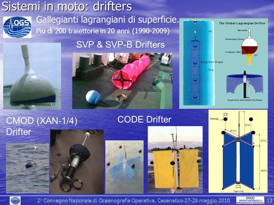 2 o Convegno Nazionale di Oceanografia Operativa, Cesenatico 27-28 maggio 2010 13 Sistemi in moto: drifters CMOD (XAN-1/4) Drifter CODE Drifter SVP & SVP-B Drifters Gallegianti lagrangiani di superficie.