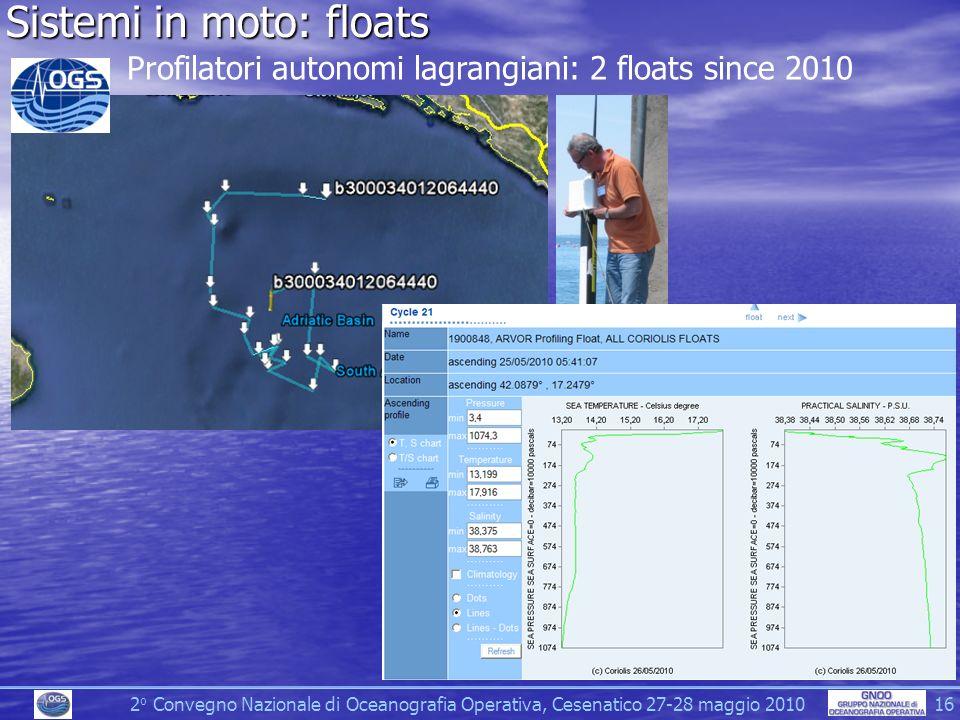 2 o Convegno Nazionale di Oceanografia Operativa, Cesenatico 27-28 maggio 2010 16 Sistemi in moto: floats Profilatori autonomi lagrangiani: 2 floats since 2010