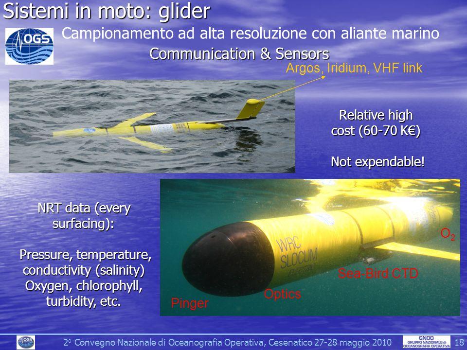 2 o Convegno Nazionale di Oceanografia Operativa, Cesenatico 27-28 maggio 2010 18 Sistemi in moto: glider Campionamento ad alta resoluzione con aliante marino Communication & Sensors Argos, Iridium, VHF link Sea-Bird CTD Pinger Optics O2O2 NRT data (every surfacing): Pressure, temperature, conductivity (salinity) Oxygen, chlorophyll, turbidity, etc.