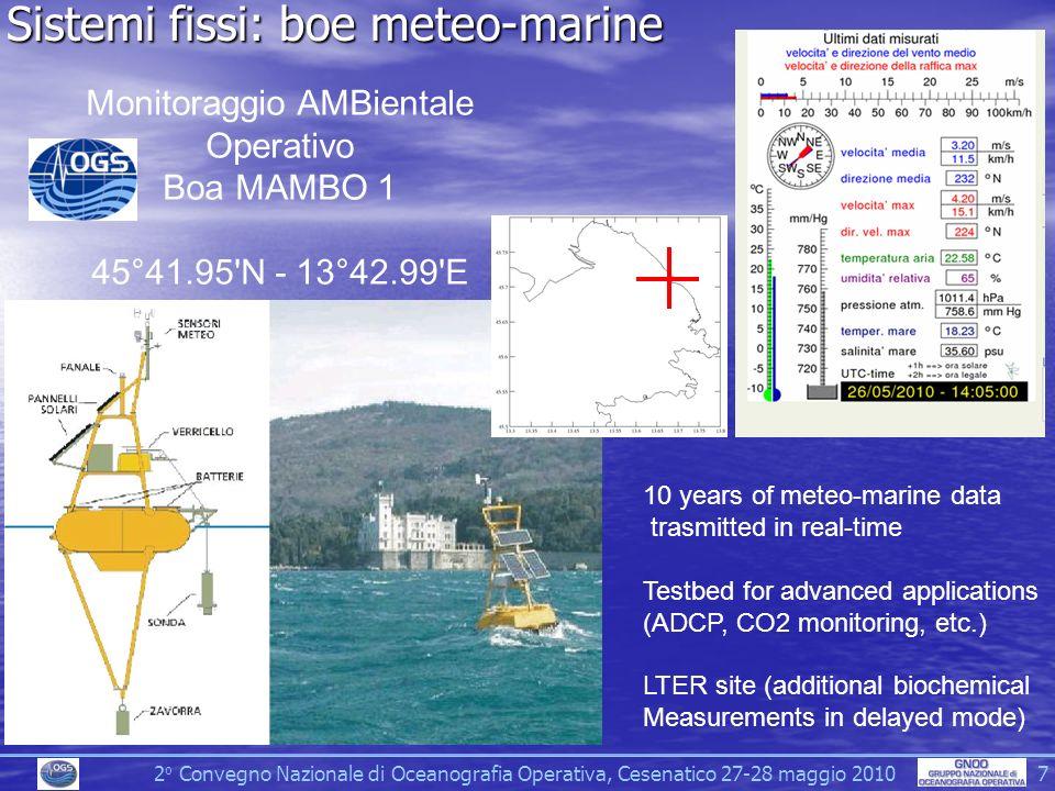 2 o Convegno Nazionale di Oceanografia Operativa, Cesenatico 27-28 maggio 2010 7 Sistemi fissi: boe meteo-marine Monitoraggio AMBientale Operativo Boa MAMBO 1 45°41.95 N - 13°42.99 E 10 years of meteo-marine data trasmitted in real-time Testbed for advanced applications (ADCP, CO2 monitoring, etc.) LTER site (additional biochemical Measurements in delayed mode)