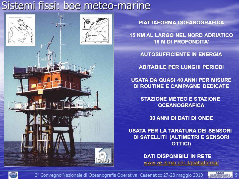 2 o Convegno Nazionale di Oceanografia Operativa, Cesenatico 27-28 maggio 2010 9 Sistemi fissi: boe meteo-marine PIATTAFORMA OCEANOGRAFICA 15 KM AL LARGO NEL NORD ADRIATICO 16 M DI PROFONDITA AUTOSUFFICIENTE IN ENERGIA ABITABILE PER LUNGHI PERIODI USATA DA QUASI 40 ANNI PER MISURE DI ROUTINE E CAMPAGNE DEDICATE STAZIONE METEO E STAZIONE OCEANOGRAFICA 30 ANNI DI DATI DI ONDE USATA PER LA TARATURA DEI SENSORI DI SATELLITI (ALTIMETRI E SENSORI OTTICI) DATI DISPONIBILI IN RETE www.ve.ismar.cnr.it/piattaforma/