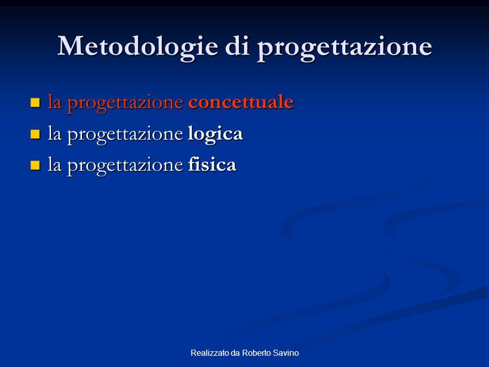 Realizzato da Roberto Savino Metodologie di progettazione la progettazione concettuale la progettazione concettuale la progettazione logica la progettazione logica la progettazione fisica la progettazione fisica