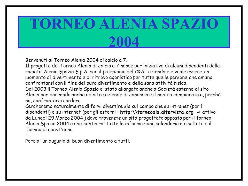 SPACE CUP 2002 QUARTI DI FINALE DATA ORACAMPOPARTITA RISULTATO 5 / 6 / 02 20.00 1 B 1A 4 - 5 / 6 / 02 21.00 1 A 2 B 3 - 6 / 6 / 02 21.30 2 A 1B 4 - 6 / 6 / 02 20.30 2 B 2A 3 - Q1 Q2 Q3 Q4 TORNEO ALENIA SPAZIO 2004 DATA ORACAMPOPARTITA RISULTATO 26 / 05 / 04 MERCOL 21.00 A1B 4 - 28 / 05 / 04 VENERDI 20.00 A 2 B 3 - 28 / 05 / 04 VENERDI 21.00 A 4B 1 - 28 / 05 / 04 VENERDI 21.00 A3B2 - Q1 Q2 Q3 Q4 VENARIA