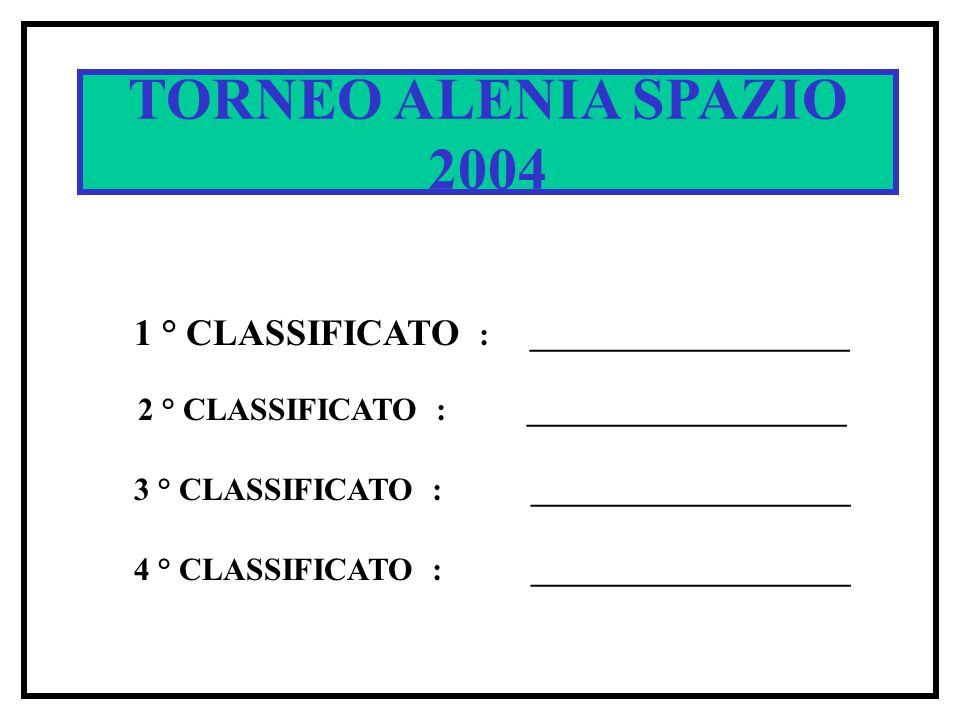 SPACE CUP 2002 TORNEO ALENIA SPAZIO 2004 1 ° CLASSIFICATO : ____________________ 2 ° CLASSIFICATO : ____________________ 3 ° CLASSIFICATO : ____________________ 4 ° CLASSIFICATO : ____________________