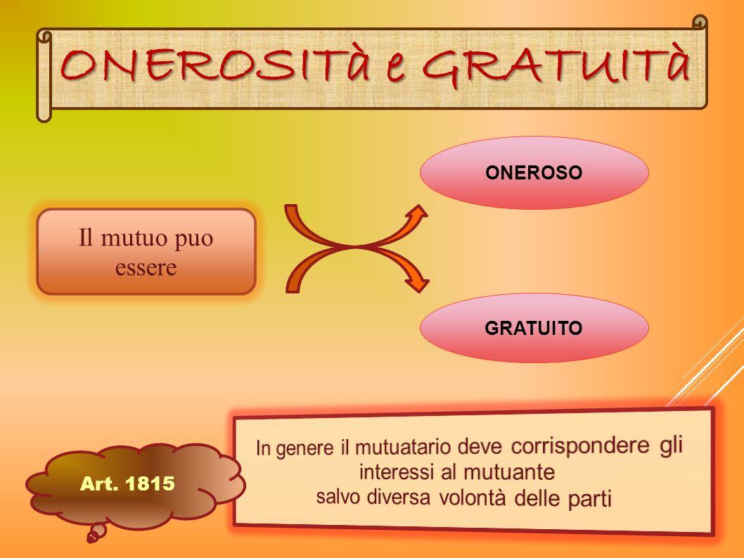 ONEROSO GRATUITO Il mutuo puo essere ONEROSITà e GRATUITà Art. 1815