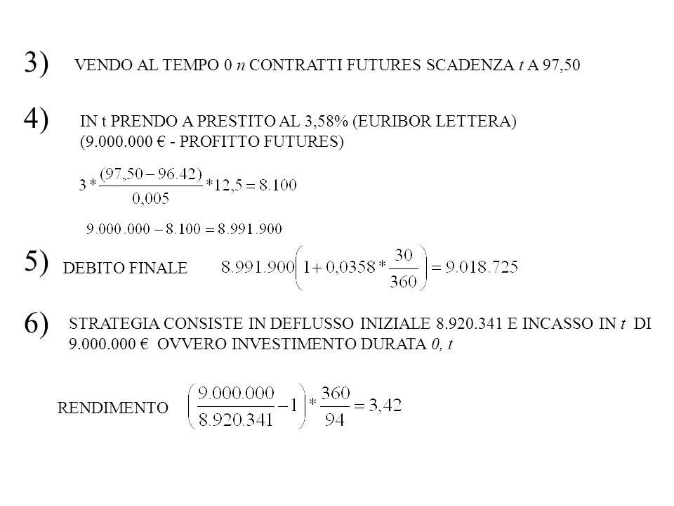 3) VENDO AL TEMPO 0 n CONTRATTI FUTURES SCADENZA t A 97,50 4) IN t PRENDO A PRESTITO AL 3,58% (EURIBOR LETTERA) (9.000.000 - PROFITTO FUTURES) 5) DEBI