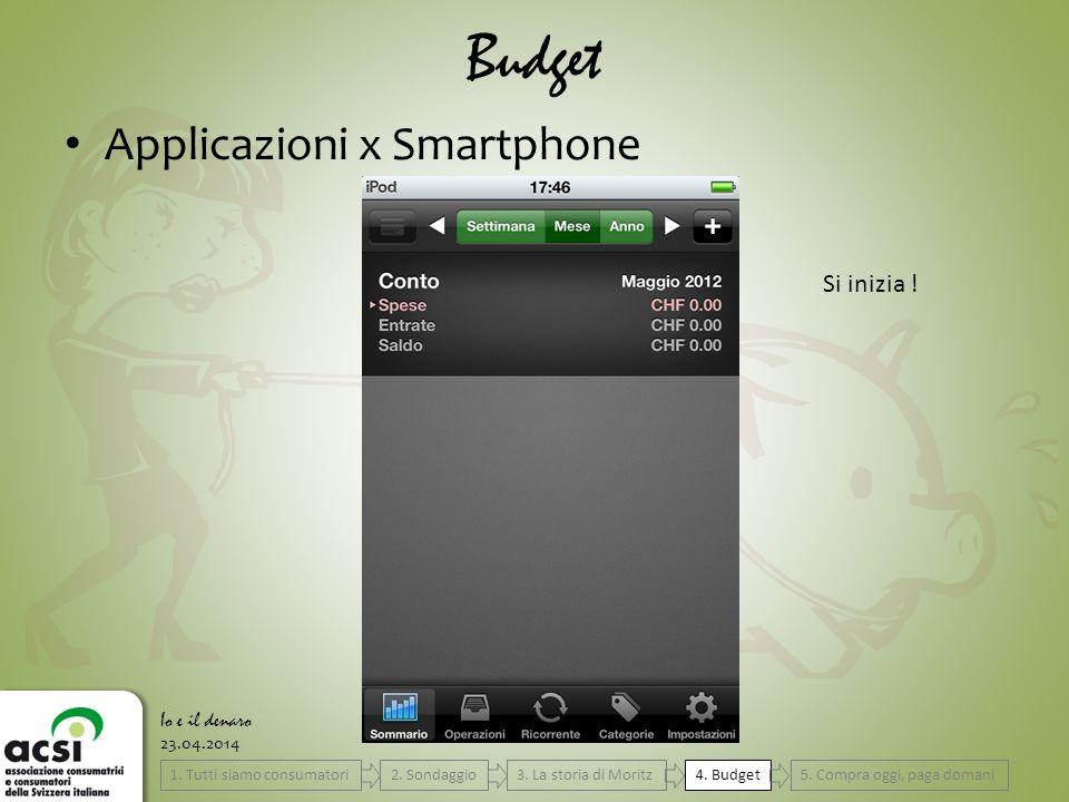 23.04.2014 Budget Io e il denaro Applicazioni x Smartphone Si inizia .