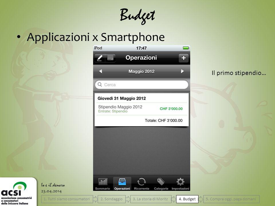 23.04.2014 Budget Io e il denaro Applicazioni x Smartphone Il primo stipendio… 4.
